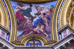 绘过去的教会大教堂的罗马意大利的妇女圣徒Agnese 库存照片