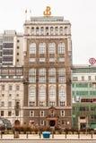 过去总部大厦-第一个摩天大楼在华沙 库存照片