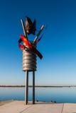 迈克尔在Chula比斯塔Bayfront公园的叶子雕塑 库存照片