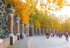 迈克尔庭院的篱芭走在秋天天的圣彼德堡、俄罗斯和游人的 库存照片