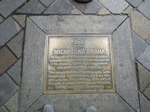 迈克尔` s在地板上的门标志,布拉索夫,斯洛伐克 库存图片