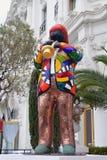 迈尔士・戴维斯雕象在尼斯 库存照片