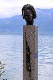 迈尔士・戴维斯雕象在蒙特勒,瑞士 免版税库存照片