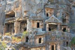 迈拉-无头甘蓝,代姆雷小镇,在土耳其的当前天安塔利亚省今天位于的古色古香的镇在Lycia 库存照片