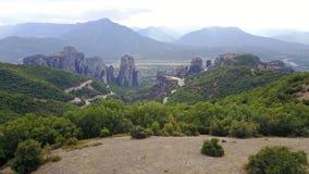 迈泰奥拉,希腊岩石的全景  库存图片