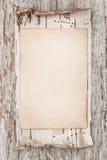 年迈的纸和白桦树皮在老木头 免版税库存照片