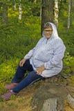 年迈的mushroomer 免版税库存图片