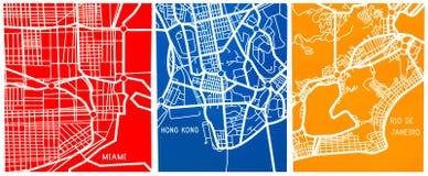 迈阿密、里约热内卢和洪风格化地图  免版税库存图片