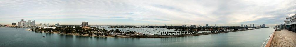 迈阿密主水道全景 库存照片