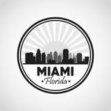 迈阿密佛罗里达设计 城市和日落象 背景装饰图象风格化漩涡向量挥动 库存例证
