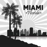 迈阿密佛罗里达设计 棕榈树和城市象 背景装饰图象风格化漩涡向量挥动 向量例证