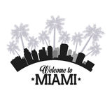 迈阿密佛罗里达设计 棕榈树和城市象 背景装饰图象风格化漩涡向量挥动 库存例证