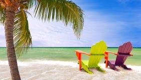 迈阿密佛罗里达,五颜六色的躺椅全景