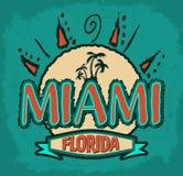 迈阿密佛罗里达-传染媒介徽章-象征-夏天热带象 免版税库存照片