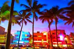 迈阿密南海滩日落海洋驱动佛罗里达 免版税库存照片