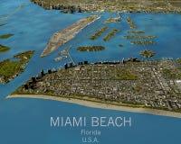迈阿密地图,卫星看法,美国 免版税库存图片