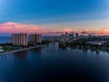 迈阿密好莱坞鸟瞰图有旅馆和公寓的 免版税库存图片