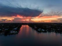 迈阿密好莱坞鸟瞰图有旅馆和公寓的 库存图片