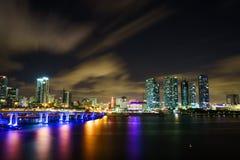 迈阿密市黄昏的地平线全景与都市摩天大楼和桥梁在海有反射的 免版税库存照片