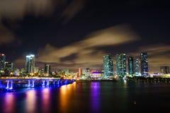 迈阿密市黄昏的地平线全景与都市摩天大楼和桥梁在海有反射的 库存照片