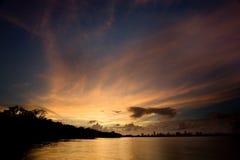 迈阿密日落水 免版税图库摄影