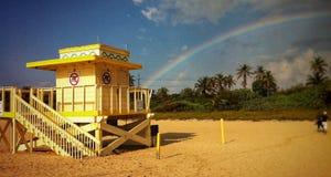 迈阿密海滩救生员房子 免版税库存照片