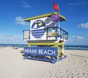 迈阿密海滩救生员棚子,南海滩 免版税库存照片