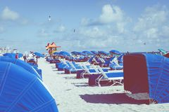迈阿密海滩,佛罗里达,美国- 2018年2月18日:救生员塔我 免版税库存图片