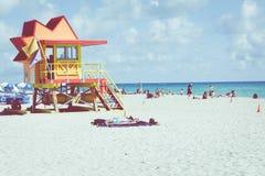 迈阿密海滩,佛罗里达,美国- 2018年2月18日:救生员塔我 免版税库存照片