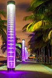 迈阿密海滩佛罗里达在晚上 免版税库存照片