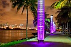 迈阿密海滩佛罗里达在晚上 免版税图库摄影