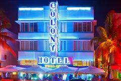 迈阿密海滩在晚上 免版税图库摄影