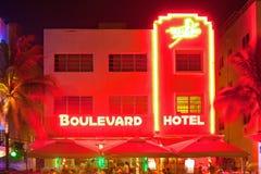 迈阿密海滩在晚上 免版税库存图片