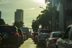 迈阿密海滩塞车街道 免版税库存图片