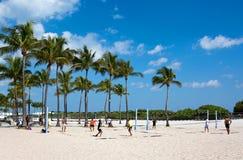 迈阿密海滩排球比赛 图库摄影
