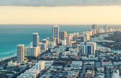 迈阿密海滩鸟瞰图,佛罗里达 免版税库存图片