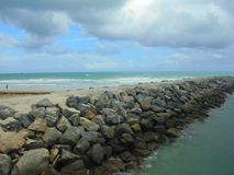 迈阿密海滩Breakwall 库存照片