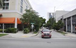 迈阿密海滩FL, 8月09th日:从迈阿密海滩的街道视图在佛罗里达 库存图片
