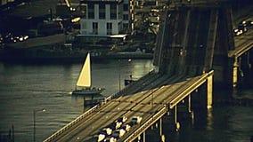迈阿密第17座街道堤道桥梁鸟瞰图 股票视频