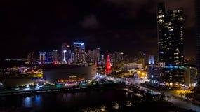 迈阿密街市夜视图 佛罗里达 美国 库存照片
