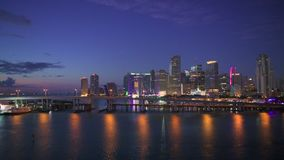 迈阿密,佛罗里达地平线在黎明 股票视频