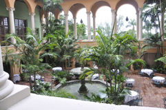 迈阿密,威严第9 :旅馆Biltmore &从迈阿密科勒尔盖布尔斯的乡村俱乐部庭院在佛罗里达美国 免版税库存图片