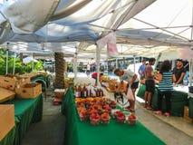 迈阿密,美国- 5月07,2018:林肯路星期天的新农夫市场 图库摄影