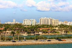 迈阿密-从巡航终端的鸟瞰图 库存照片