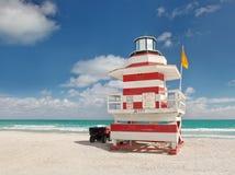 迈阿密Beach佛罗里达,救生员房子 库存图片
