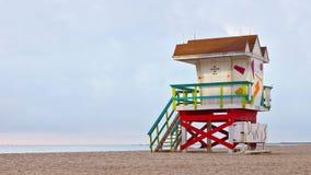 迈阿密Beach佛罗里达,救生员房子 免版税库存图片