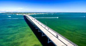 迈阿密Rickenbacker堤道鸟瞰图,佛罗里达-美国 库存照片