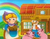 运作在农场的人动画片场面 库存例证