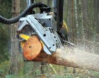 运作在森林里的收割机 库存图片
