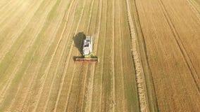 运作在领域的收割机和割麦子 乌克兰 录影4K 影视素材
